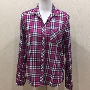 AE Pink Plaid Flannel Shirt
